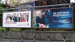 """Interesting picture : Two opponents, side-by-side on their bill-boards.   Big, negative campaign against Tomislav Nikolic gave an additional """"minus"""" to electing Mr.Tadic as president."""