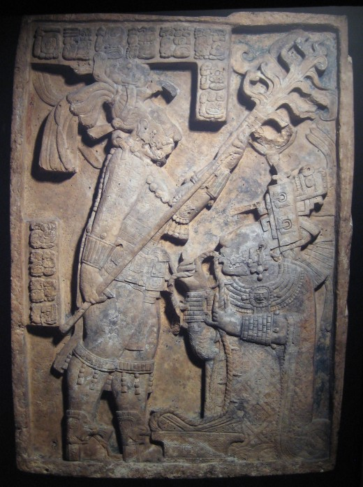 Maya relief of royal blood-letting (Yaxchilan lintel 24), Mexico, about AD 600-900. British Museum