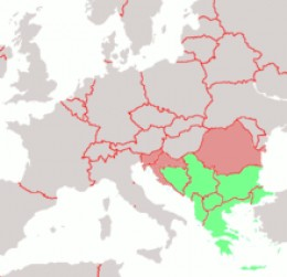"Balkan peninsula marked on map of Europe. ""Balkan Union"" could be an gateway from crisis to Eastern countries in Europe."