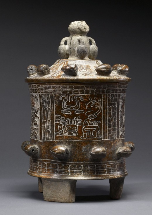 "Lidded vessel used for drinking cacao (chocolate). The glyphs on the vesses reveal the cup's owner and his father Chakjal Mukuuy, ""Reddening Do."