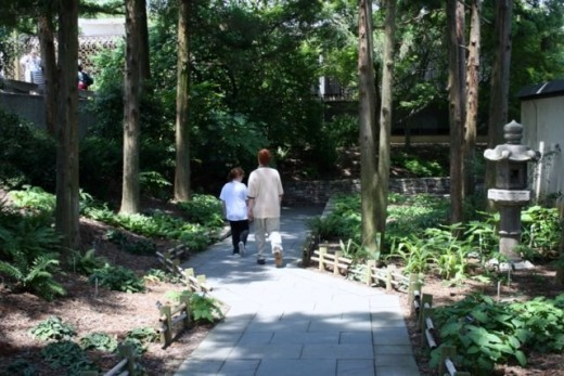 Children stroll through Japanese garden