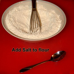 Add salt to flour.