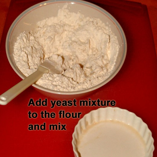 Add yeast to mixture flour.