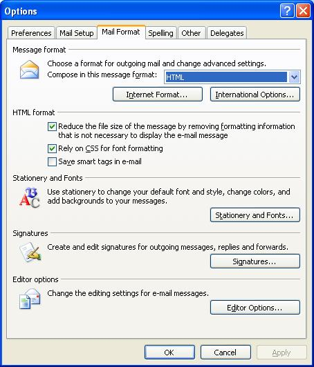 """Select """"Mail Format"""" and then click """"Signatures."""""""