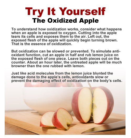 Watch how lemon juice on this apple acts as an antioxidant and stops free radical damage