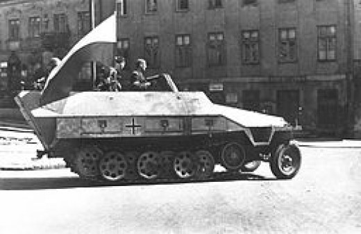 A captured German tank during the Warsaw Uprising