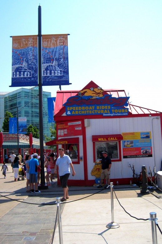 Ticket booth for Seadog tours.