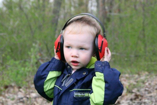 Children should wear hearing protection when exposed to loud noises: simple over-the-ear headphones work best for small children.