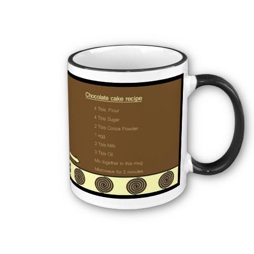 Chocolate cake recipe mug