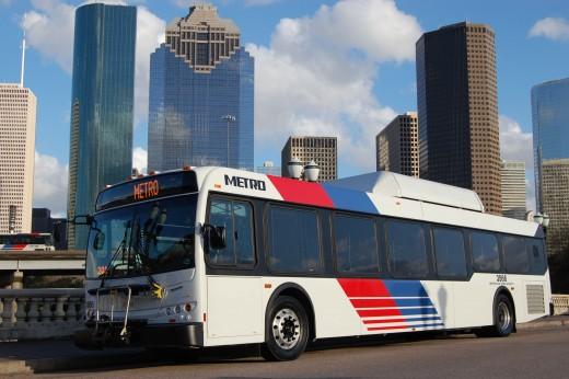 One of the many Metro buses in Houston, Texas.