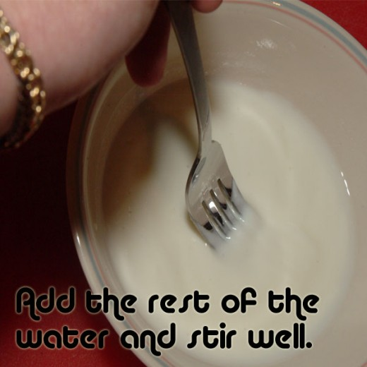 With all of the water in the yogurt, stir it in well.