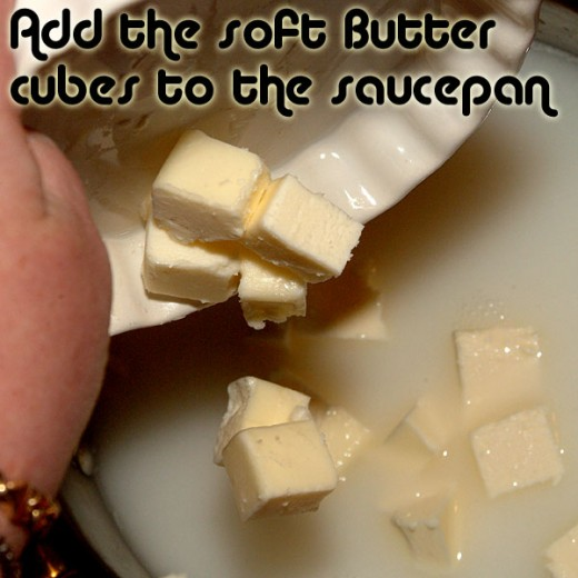 Add the softened butter cubes.