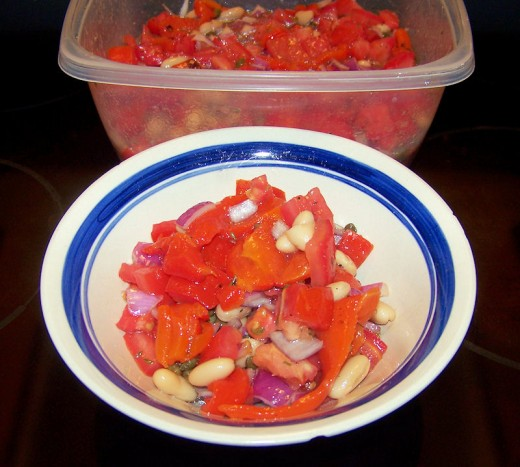Nice bowl of Terrific Tomato and Pepper salad for summer!