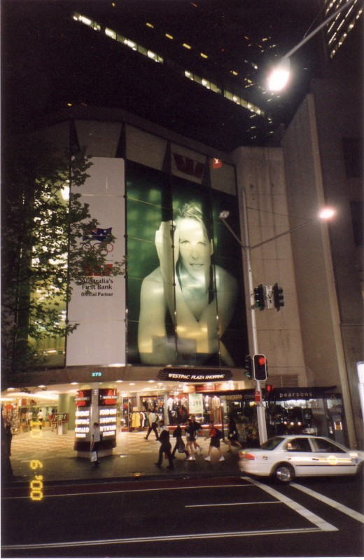 Swimmer/ Gold Medalist Susie O'neill appears on a giant Window of Sponsor Westpac Bank at 2000 Sydney Games