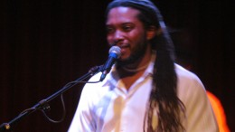 Dorden Bivings, performs with his sultry, soulful voice. He plays keyboard for Point Blank band.