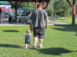 Jacob at 11 months with his 6 ft. tall daddy