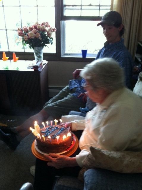 Grammie blowing out her candles :)