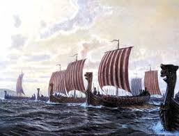 The Danish fleet crosses the Thames from Kent to take Knut's men out of harm's way
