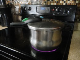 My Fagor pressure cooker in action