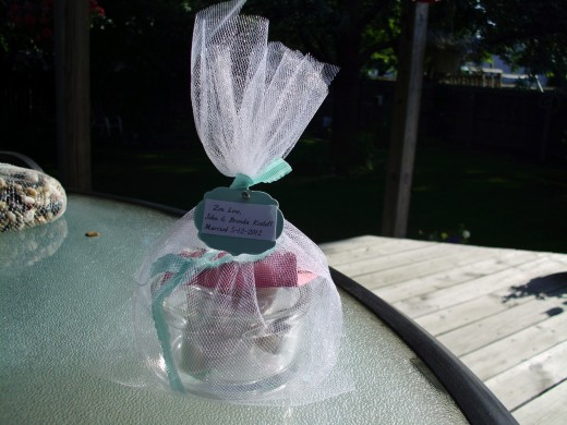 Wrapped up mini zen garden favor ready to gift
