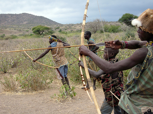 The Hadza live around Lake Eyasi in Northern Tanzania. On the whole they live a traditional hunter-gatherer existence, though some groups demonstrate their hunting skills to tourists.