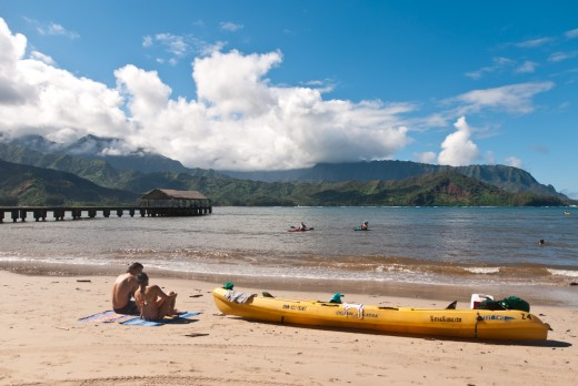 Hanalei Beach on the Island of Kaua'i