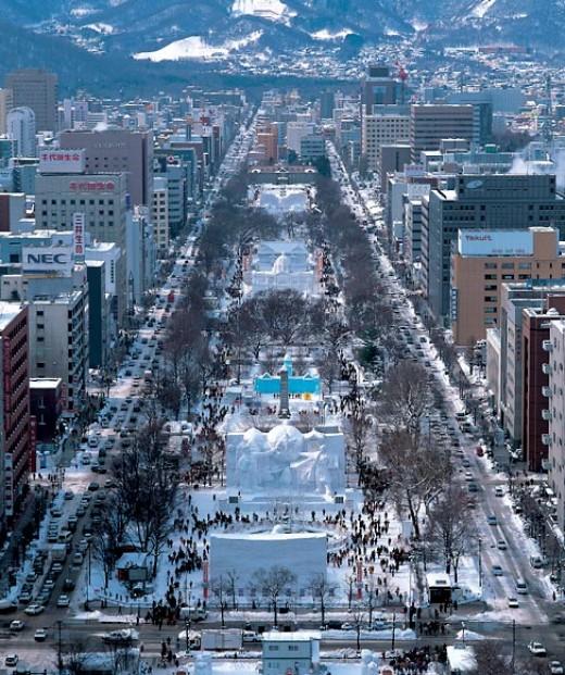 Odori Park during the Snow Festival