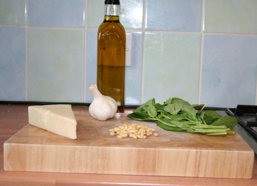 A Good Pesto Starts With Good Ingredients: Pine Nuts, Olive Oil, Fresh Basil, Grated Parmesan, Freshly Ground Pepper and a Shake of Salt