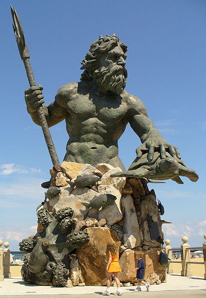 This is a 34 foot bronze statue of King Neptune at 31st street on the boardwalk on the beach.