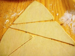Cut the dough into triangles.  I don't really care about the size, though you can cut them more evenly than I did here.