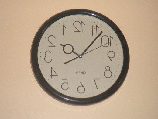 Neither will looking at a backwards clock.