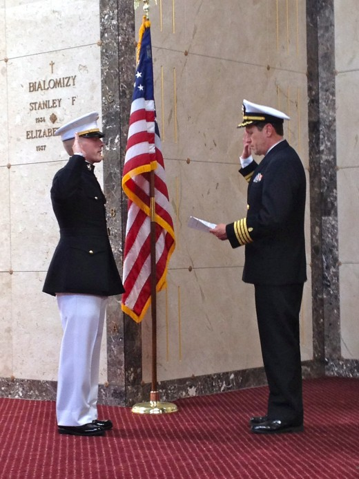 Andy (left), commissioned as a Second Lt., USMC, May 20, 2012 by a retired US Navy Capt. and family friend