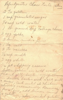 Hand-written recipe for Refrigerator Cheese Torte