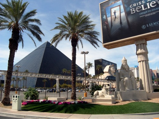 The Luxor Resort and Casino is modeled after the architecture of ancient Egypt.