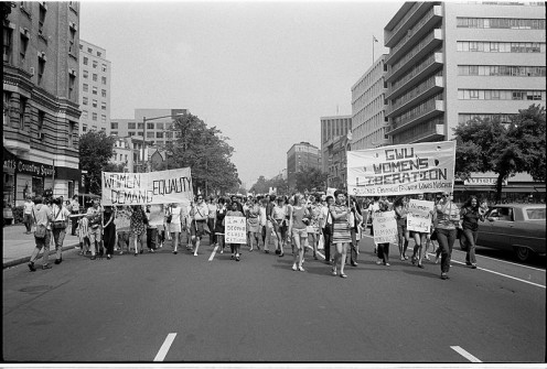 Women's lib[eration] march from Farrugut Sq[uare] to Layfette [i.e., Lafayette] P[ar]k 26 August 1970