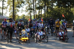 Volunteer bicyclists prepare to begin a 20-mile ride around Fort Bragg Oct. 8. This is the second year the Wounded Warrior Project Soldier Ride has taken place here. The event is part of a national tour that first took place in 2004.