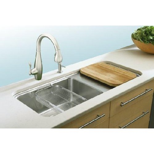 Kohler Stainless steel sink with workspace, for the serious cook.