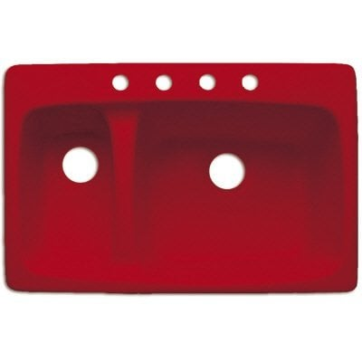 Red acrylic top mount sink is perfect for a retro look kitchen.