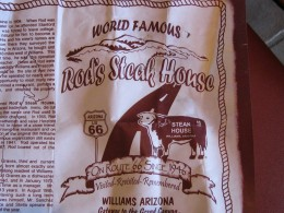 Placemat with Rod's Steak House Famous Logo,  Williams Arizona Route 66