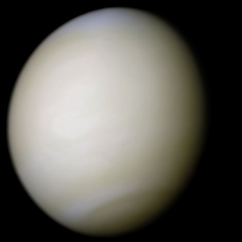 Our sister planet, Venus. Covered in thick clouds of Carbon Dioxide, Venus is the hottest planet in the solar system