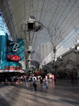 The roof over Fremont Street provides substantial cooling, even on hot sunny days.