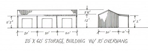 Storage buildings are typically designed for approach from one side. The access side may be completely open, or will have a roll-up door at each bay. Many storage buildings have an overhang to provide additional parking.