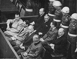 Front Row: Goering, Hess, Von Ribbentrop and Keitel  Behind them;Donitz, Raeder, Von Shirach and Suckel