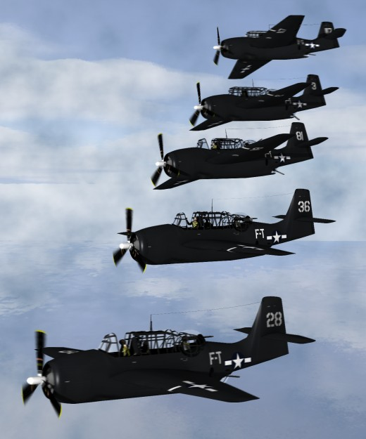 Artist's depiction of five Avengers from Flight 19.