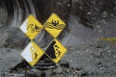 Hiking on the trail next to the glacier has its warnings