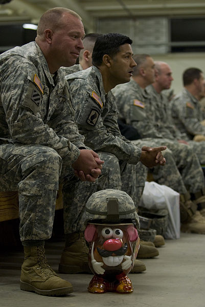 Mr. Potato Head dons camouflage to help the U.S. Army donate toys to children in 2008.