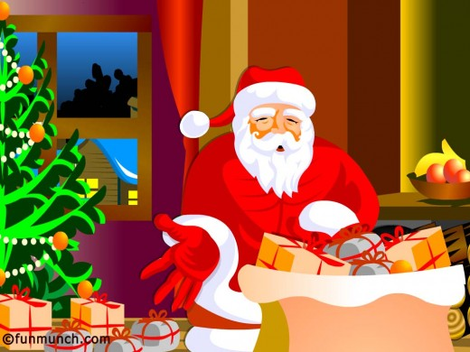 free cartoon wallpaper. Santa Claus wallpaper. Santa cartoon picture. Free Christmas wallpaper