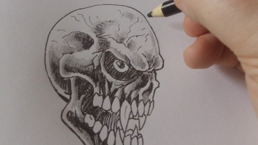 Tone within tone works well against the ink lines especially to simulate cracks on the skull.