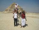 Outside the step pyramid at Saqqara.