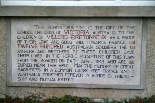 A plaque in the school grounds commemorating Australia's involvement in the war (c) A. Harrison